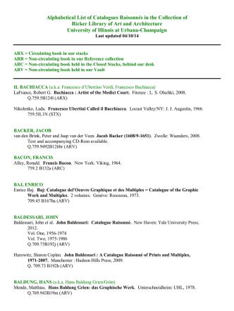 Alphabetical List of Catalogues Raisonnés in the Collection of