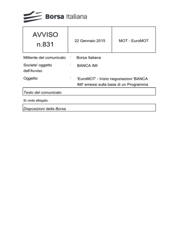 AVVISO n.831 - Borsa Italiana