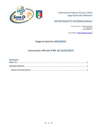Comunicato Ufficiale n°80 del 22/01/2015