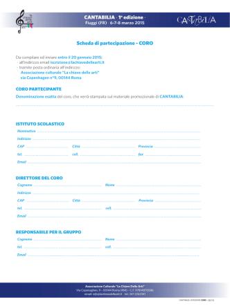 CANTABILIA · 1a edizione · Scheda di partecipazione