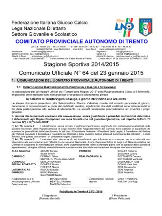 C.U. n°64 del 23/01/15 Stag. 2014/2015