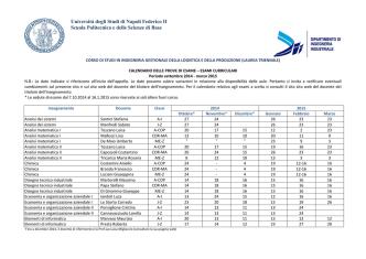 Calendario Esami Gestionale Logistica e Produzione (Triennale)