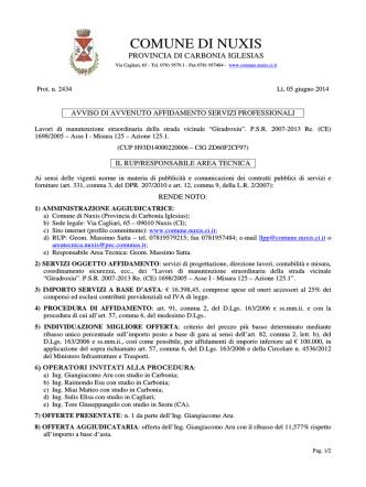 Avviso di affidamento [file ] - Regione Autonoma della Sardegna
