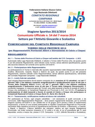 C.U. n. 54 L.N.D.-S.G.S. del 7.03.2014