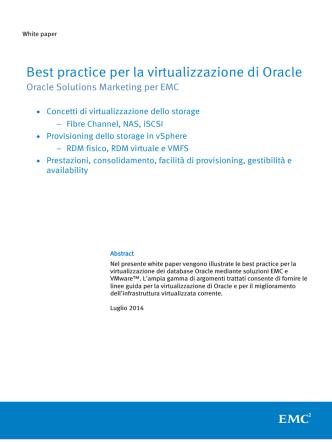 Best practice per la virtualizzazione di Oracle