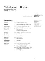 Vokalquintett Berlin Repertoire