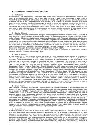A. Candidature al Consiglio Direttivo 2014