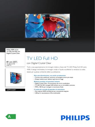 32PFH4309/88 Philips TV LED Full HD con Digital Crystal Clear
