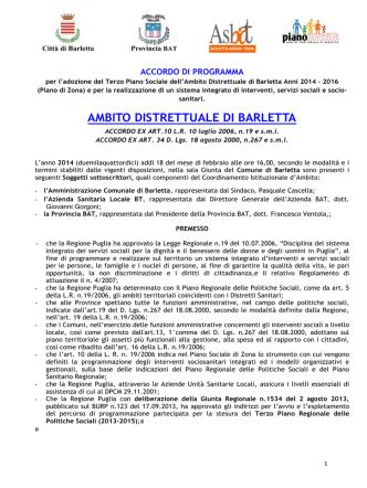 Accordo di Programma - Comune di Barletta
