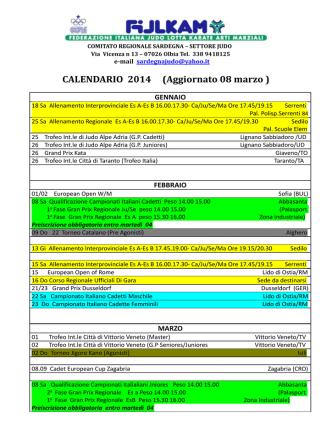 Aggiornamento Calendario Regionale Gare 2014