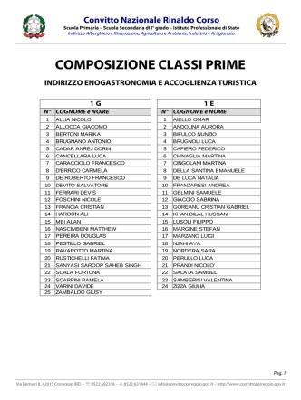 COMPOSIZIONE CLASSI PRIME - Convitto Nazionale Rinaldo Corso