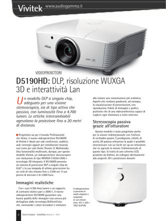 D5190HD: DLP, risoluzione WUXGA 3D e