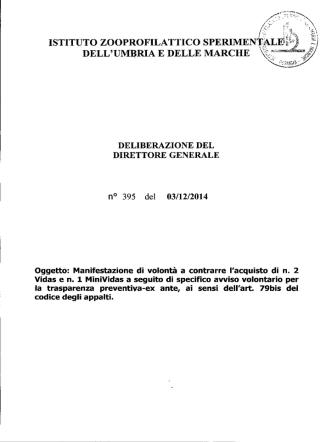 DELIBERAZIONE DEL DIRETTORE GENERALE n° 395 del 03/12