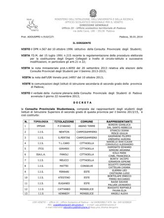 Decreto costitutivo Consulta 2014