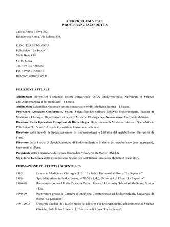 Curriculum vitae del docente - Dipartimento di Scienze mediche