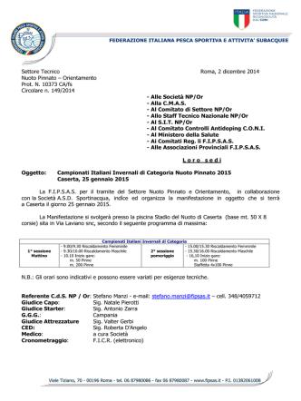 Circolare CI Invernali di Categoria NP 2015