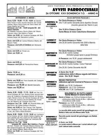 avvisi del 26 ott 2014 - Unità Pastorale Zevio-Perzacco