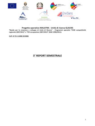 3° report semestrale - Fondazione Montagna Sicura