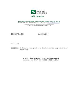 DECRETO n. 304 del 28/05/2014
