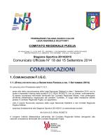 Comunicato Ufficiale n. 18