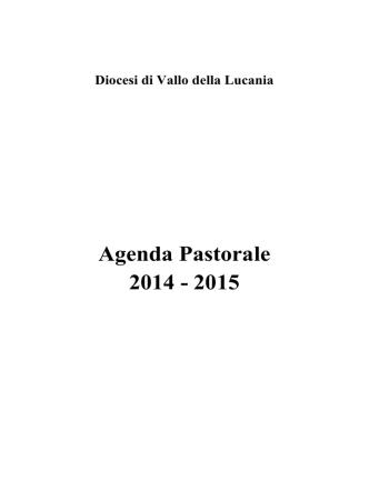 Agenda Pastorale 2014 - 2015 - Diocesi di Vallo della Lucania