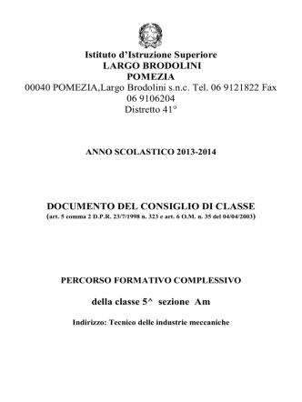 CLASSE 5^Am - IIS Largo Brodolini