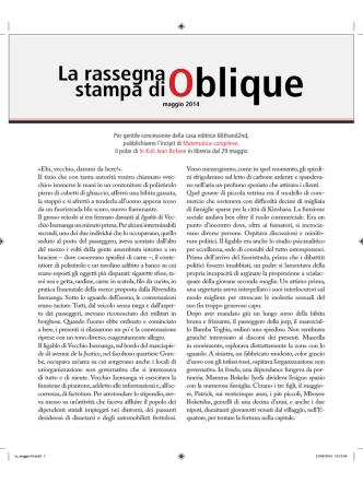 1-31 maggio - Oblique Studio