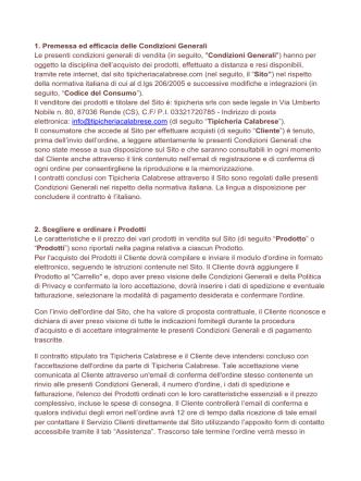 Condizioni - Tipicheria Calabrese