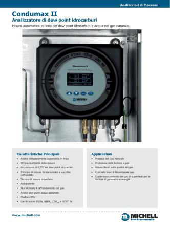 Condumax II Analizzatore di dew point idrocarburi
