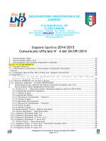 Comunicato Ufficiale N° 4 del 04/09/2014