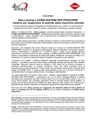 Da BEI e SACE € 95 milioni ad Alba Leasing