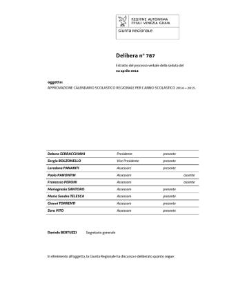 Delibera n. 787 del 24 aprile 2014