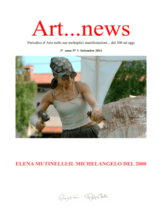 art...news settembre 2014 - Libreria Cristina Pietrobelli