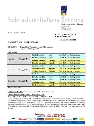 COMUNICATO GARE N° 22/14 - Federazione Italiana Scherma