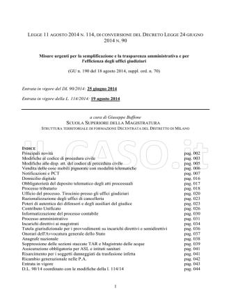 2014 n. 114 - Conversione in Legge del DL 90 2014