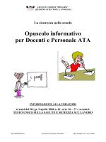 Opuscolo informativo per Docenti e Personale ATA