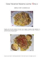 Menu e prezzi Chef a Domicilio per Casa Vacanze