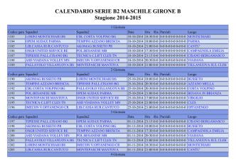 CALENDARIO SERIE B2 MASCHILE GIRONE B