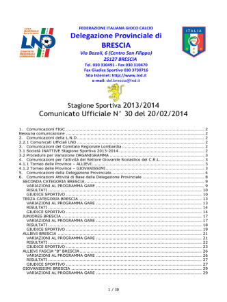 Comunicato ufficiale N.30 - Comitato di BRESCIA