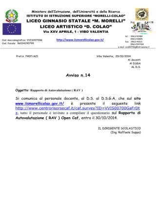 avviso CAF - IIS Morelli-Colao