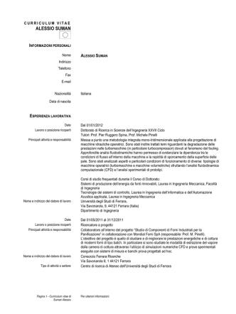 alessio suman - Ingegneria - Università degli Studi di Ferrara