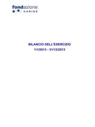 Bilancio 2013 - Fondazione Carige