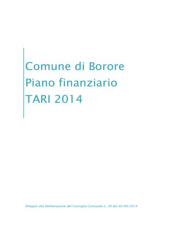 Comune di Borore Piano finanziario TARI 2014