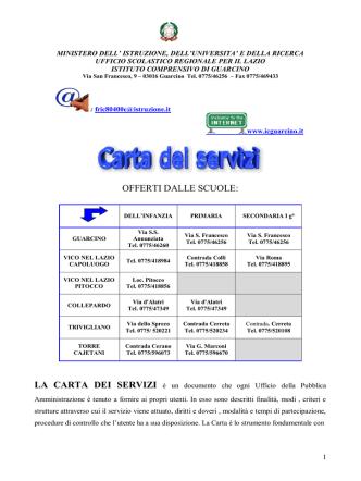 carta dei servizi 2014-2015 - Istituto Comprensivo Statale di Guarcino