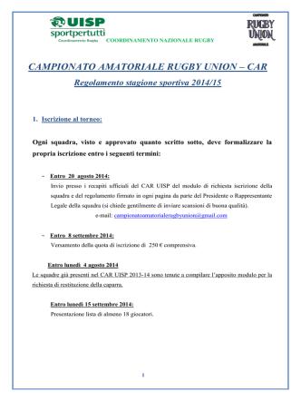CAMPIONATO AMATORIALE RUGBY UNION – CAR