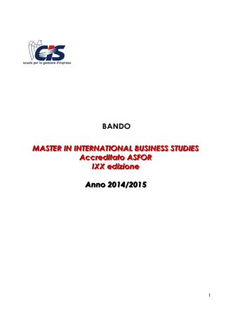 bando 2014 - CIS - Scuola per la gestione d´impresa