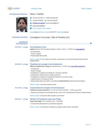 Curriculum Vitae Marco Cataldo