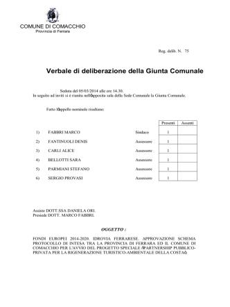 Delibera di Giunta Comunale n. 75/2014