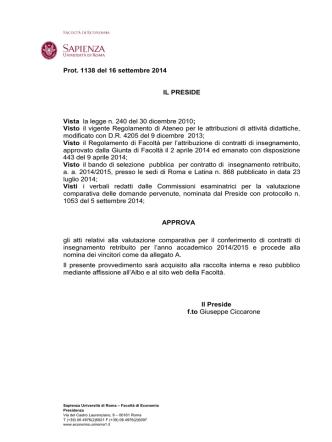 Decreto di approvazione atti con allegati