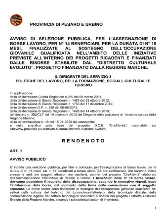 Bando Borse Lavoro Provincia Pesaro